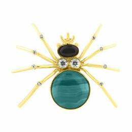Brož pavouk s onyxem a malachytem